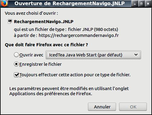 rechargement navigo.jnlp