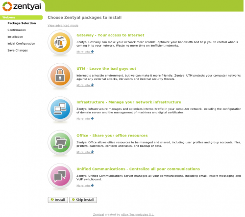 L'interface d'installation des modules zentyal