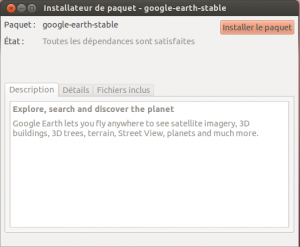 Gdebi sur le point d'installer le paquet Google-earth