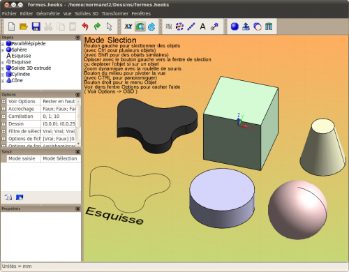 Heekscad documentation ubuntu francophone for Application dessin 3d