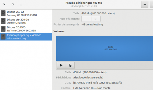 Menu pour attacher une partition