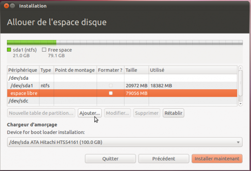 Interface de partitionnement manuel