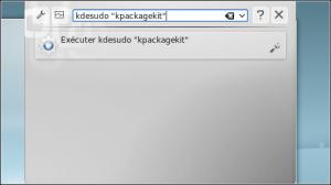 """Enter the instruction as """"gksudo"""" program name """""""" (eg """"kdesudo"""" kpackagekit """""""")."""