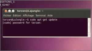 "Enter the instruction as ""sudo <command>"" (eg ""sudo apt-get update"")."