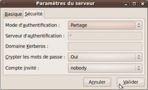 Configurez la méthode d'authentiication du serveur Samba