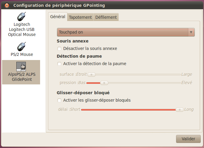 Fenêtre de configuration de Gpointing Device Settings