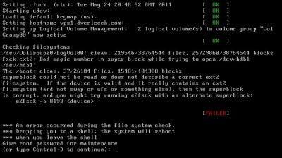 how to run fsck on root filesystem in linux