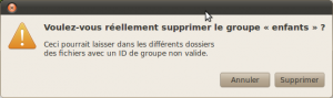 Suppression d'un groupe