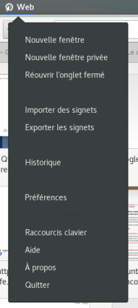 Le menu de l'application de GNOME Web 3.24