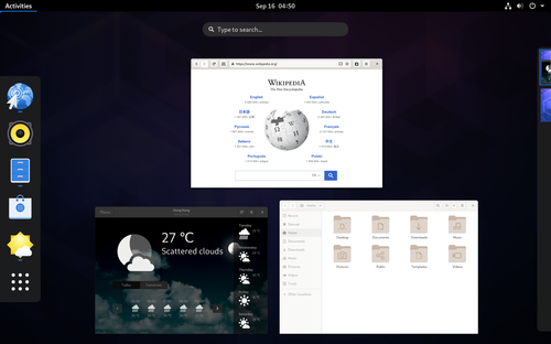 Un aperçu de l'interface GNOME Shell