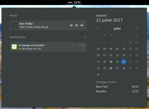 L'horloge et le centre de notifications, avec GNOME 3.22